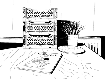 Tenement 02 black and white draw design illustration sketch line drawing