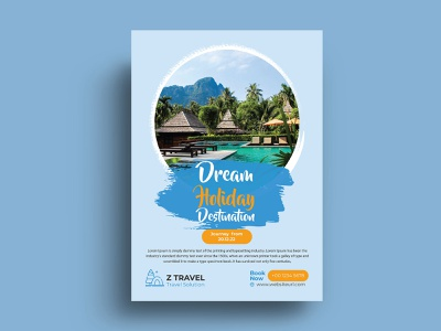 Travel Flyer Design Template multipurpose clean marketing creative agency corporate business flyer adventure vacation flyer vacation tourism flyer