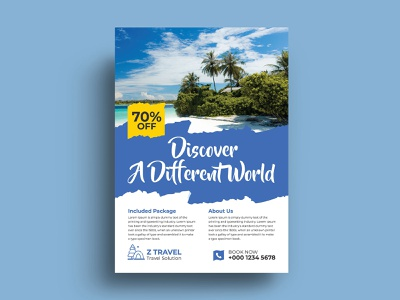Travel Flyer Design Template traveling travel tours tour print ready ocean maldives jellyfish island holiday entertainment diving caribbean bus boat blue beach bar bali aircraft