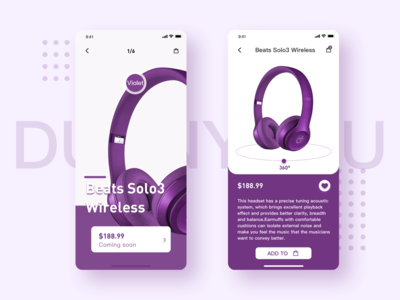 Purple headphone interface