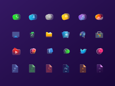 Glassy figma colors ux logo brand design colorful simple logodesign illustration ui design ui glass icons glass file icons android icons windows icons icon set icons glassmorphism
