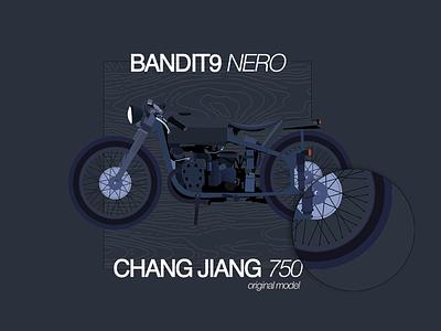 Bandit9 Nero Flat Illustration motorcycle motor ride flat helvetica bandit9 nero matte black