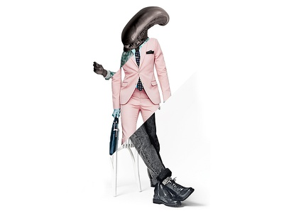 Gentleman Bestiary fashion villain movie horror alien magazine fancy trend parody gq character retouching