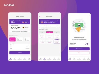 Senditoo mobile apps redesign mobile app design bank transfers mobile wallet mobile topup mobile payments utility bills bill payments android design ios mobile uiux mobile ui money transfer mobile app