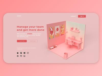 Studio 3D website branding webdesign web uiux ui render product photoshop landing illustration geometric design colors adobe abstract 3dart 3d art 3d