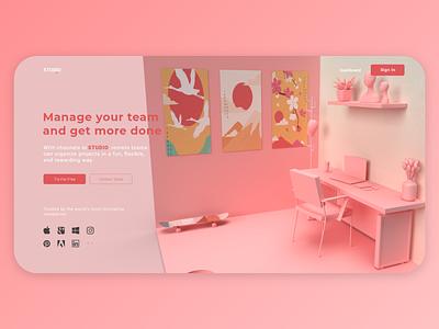 Studio webdesign website web uiux ui render product photoshop landing illustration geometric design colors branding adobe abstract 3d art 3dart 3d