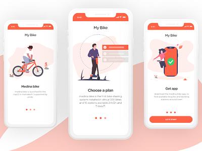 Medina Bike Onboarding Screen mobile app design isometric illustration landingpage shipping company redesign concept onbording mobile app ui ux adobexd