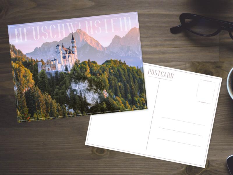 Neuschwanstein dribbble weeklywarmup weekly warm-up design postcard adobe xd adobexd