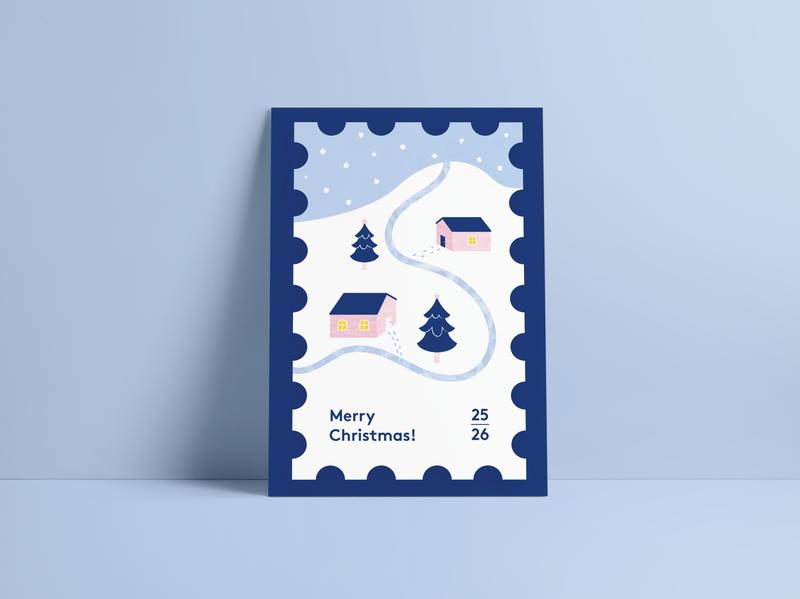 No stamp needed illustrator houses christmas tree mountain blue snow winter postcard stamp christmas illustration