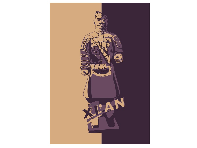 The Terracotta Army xi an poster design illustrator landmarks city poster chinese culture