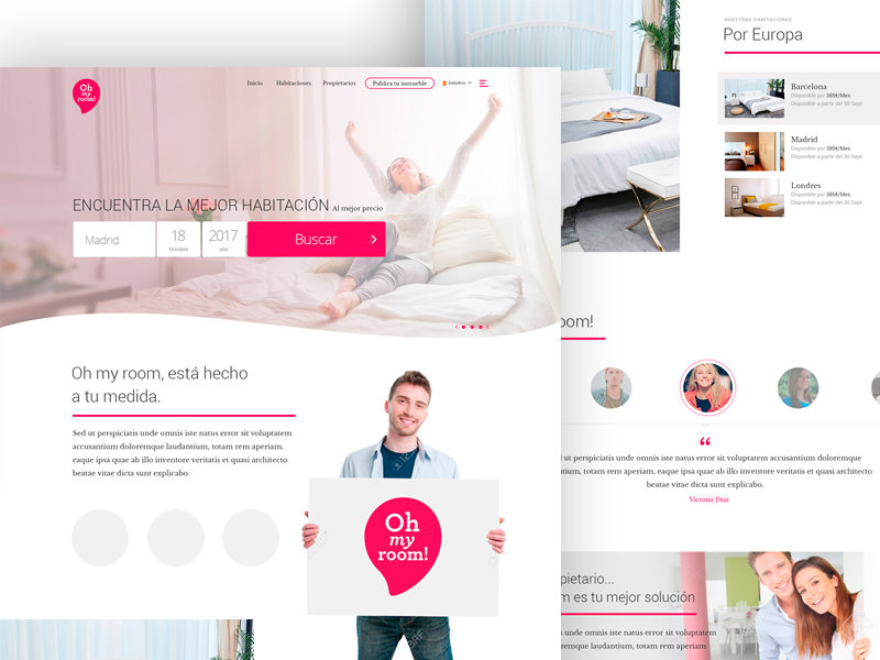 Oh My Room! rent room pink form ux ui design visual