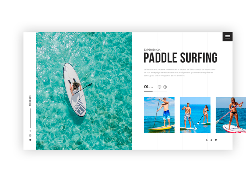 Conceptual Design Paddle Surfing uxdesign ux interface ui webdesign surf paddle surf