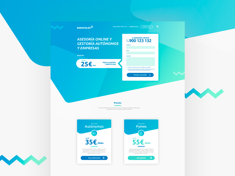 Asesoria landing page webdesign visual design user interface ui design colorful legal consulting consultancy business consulting ux ui gradient