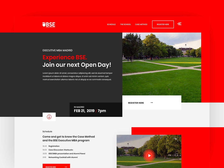 Business School Europe - University open day landing page design interface webdesign ux designer ui design interface design geometric red professor students business school university