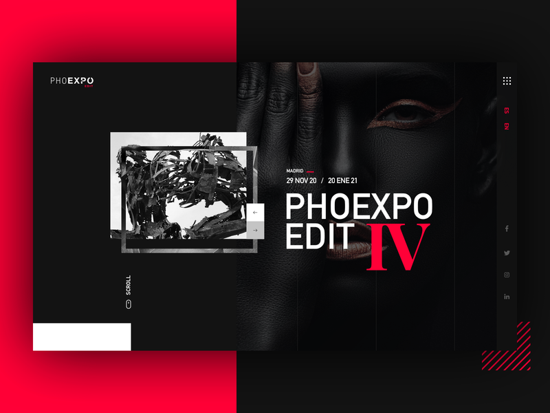 PHOEXPO EDIT homepage design homepage interfacedesign black square photograph webdesign redesign contemporary modern design photographer photography uxui ui website design