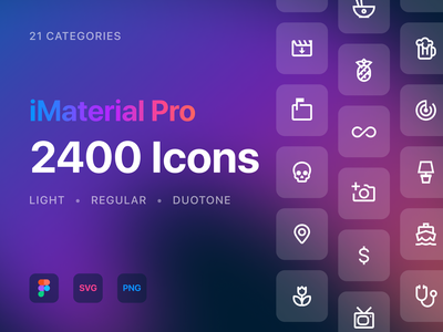 iMaterial Pro Icons minimal vector app ux ui ui design web figma light duotone regular ios14 material design icon set icon icons