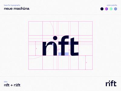 Rift - Logo figma wordplay letters letter logotype typography pink gradient ink bleeds neue machina minimal nft marketplace nft artist nft logo