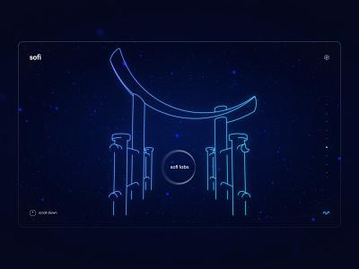 Sofi - Torri gate scientific magical clean minimal torri gate japan lineart illustration night dark website ux ui