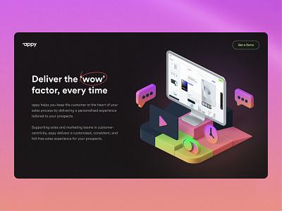 appy - screens modern desktop dark bento ui8 isometric illustration minimal figma website 3d ui