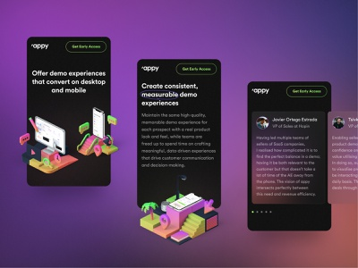 Appy Responsive card design horizontal scroll glass glassmorphism glass effect appy typography illustrations 3d mobile phone responsive website figma ux ui