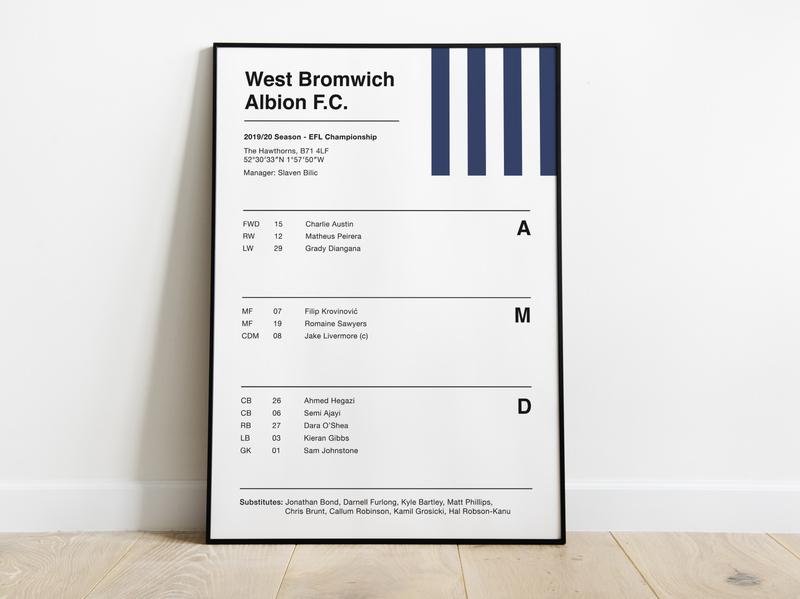 West Bromwich Albion - Team Sheet Print epl premier league premierleague nyc wba soccer football clean typography type print