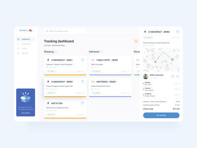 Tracknetic — Dashboard for Tracking Orders & Deliveries tracking app tracking minimal layout web design ux ui courier dashboardclean onlineshopping onlinedelivery ordertracking track delivery shipping dashboardapp uxdesign