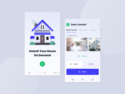 Door Control App intro screen home screen purple android app development android design android app android apartment house control home door control vector graphic design mobile app web design design ui ux