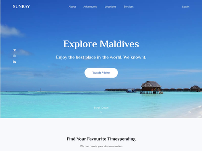 Sunbay Website layout web vector design motion after effects animation vacation maldives clean minimalistic travel travel agency ux ui landing page web design