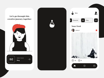 Inktober Social App liquidanimation animation uxui girl person autumn beret blackandwhite mobile layout challenge socialapp ink inkdrawing fall art illustration design mobileapp inktober2020