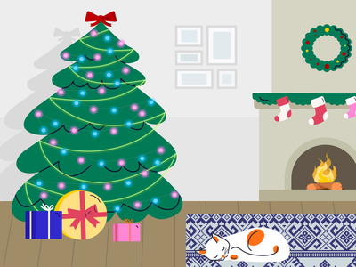 Happy New Year cat vector design ux ui 2021 home celebrate lights christmas tree illustration happy holidays evening happy new year