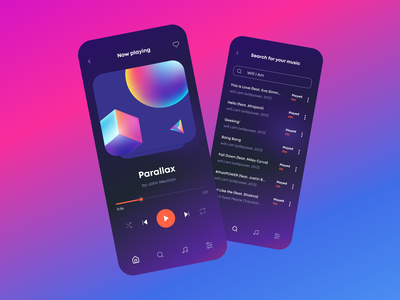 DailySound Music Player App media clean media player music app music player search playing song gradient dark dark mode dark ui figma figmadesign minimalistic modern
