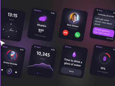 Apple Smart Watch Interface Design layout minimal graphic design ux web design aftereffects animation figma design watch darkmode smartwatch applewatch userinterface
