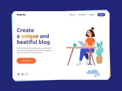 Bloganity — Website for Blogging detail minimalist minimal research illustration layout web design design blogging blog ux ui clean simple