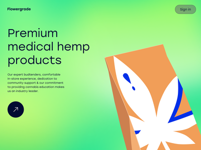 Flowergrade Premium Medical Hemp Products vector package packaging branding illustration green premium medical hemp medical product medicine short path distillation fight cancer pain relieve cbd weed medical hemp hemp medical cannabis cannabis ux ui