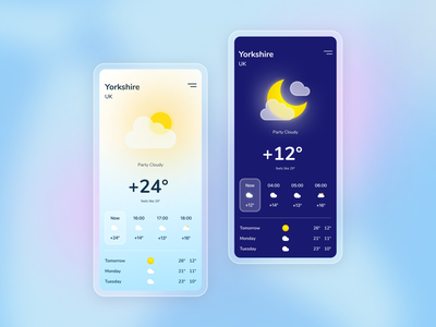 Daily Weather Mobile App apple cloud moon sun illustration vector app mobile daily weather ux ui