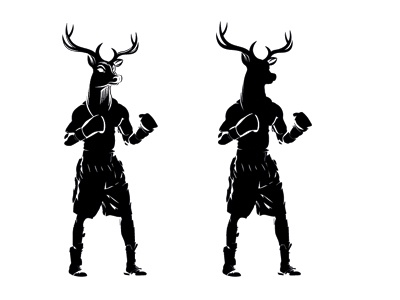 Stag Boxing Concept vector stag illustration logodesign boxing