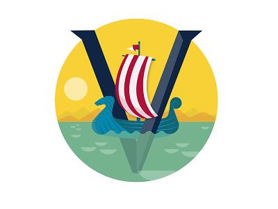 V is for viking branding design illustration typogaphy