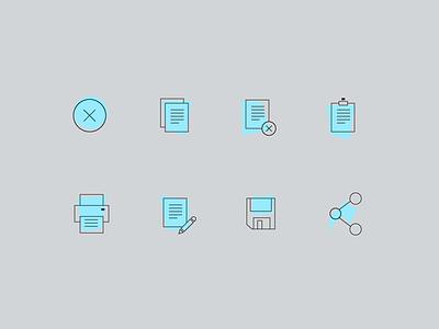 Color Block Icon stroke block line retro icons ui web app set