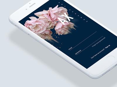 ArtXchange Login ui login branding imagery iphone app