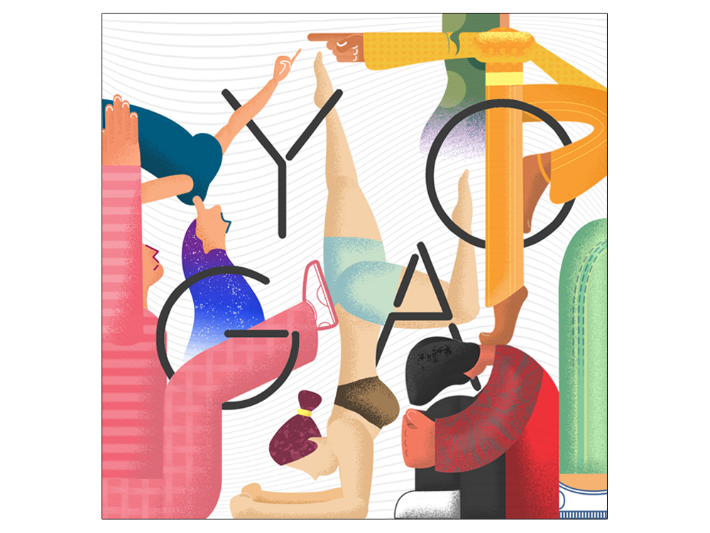 YOGA geometic stretching flat design modern style pose character typography abstract character design illustration yoga