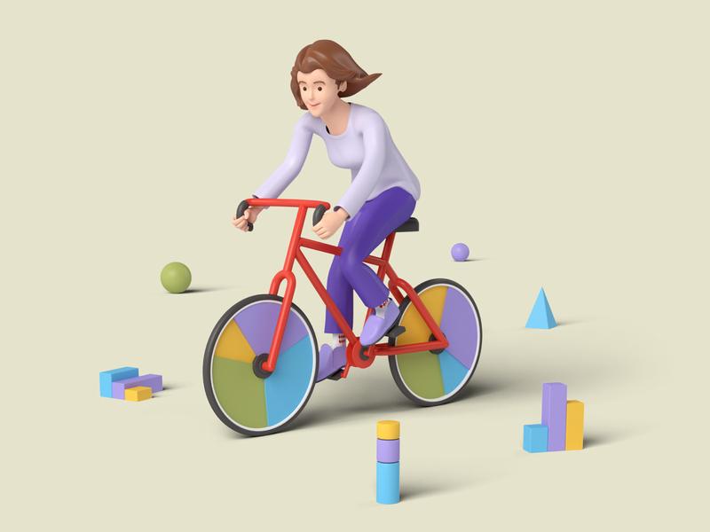 Bike Pie pie-chart bike 3d character modeling