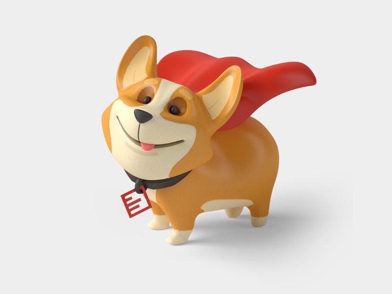 Pixel superhero corgi 3dcharacter