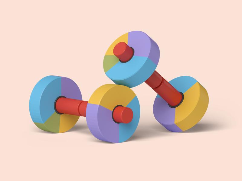 Gym Gadget data visualization gym 3dsmax pie-chart weights