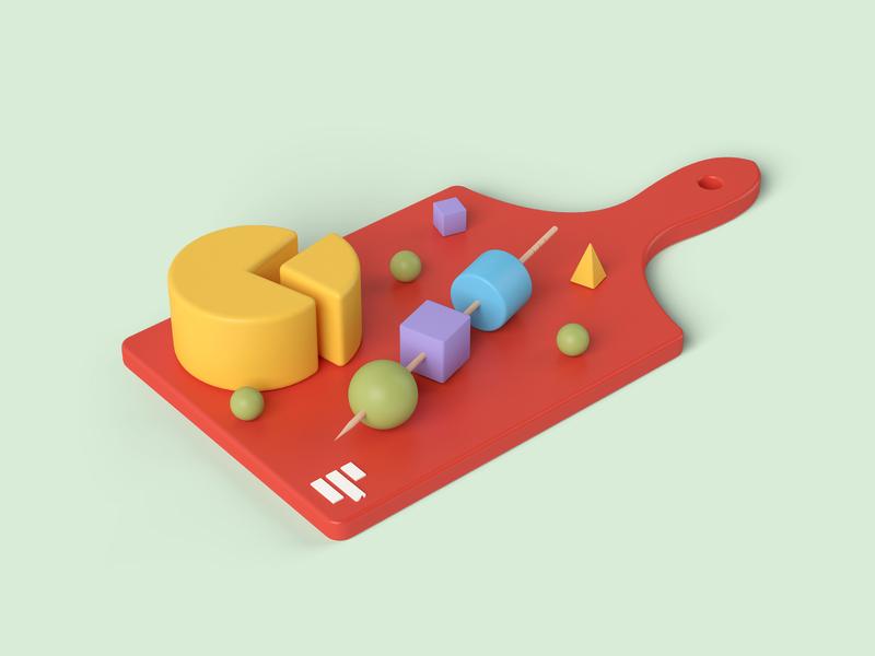 data cuisine 3d art data visualization barbeque pie-chart cheese