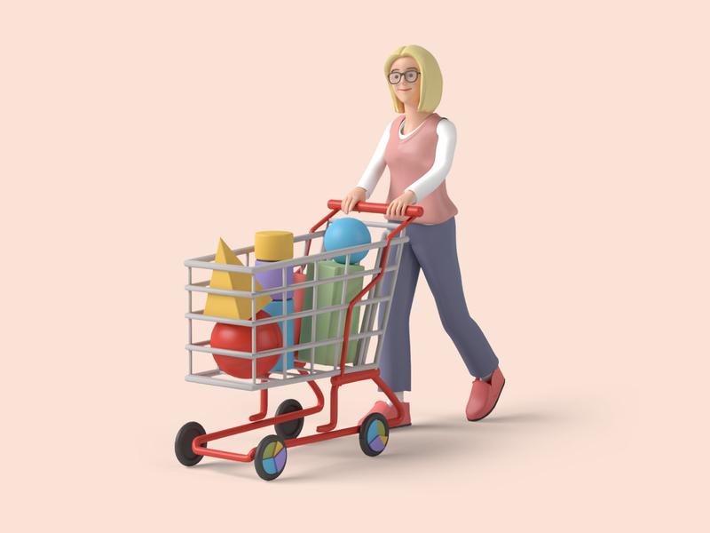 E-commerce 3d art analytics 3dmodelling shopping cart