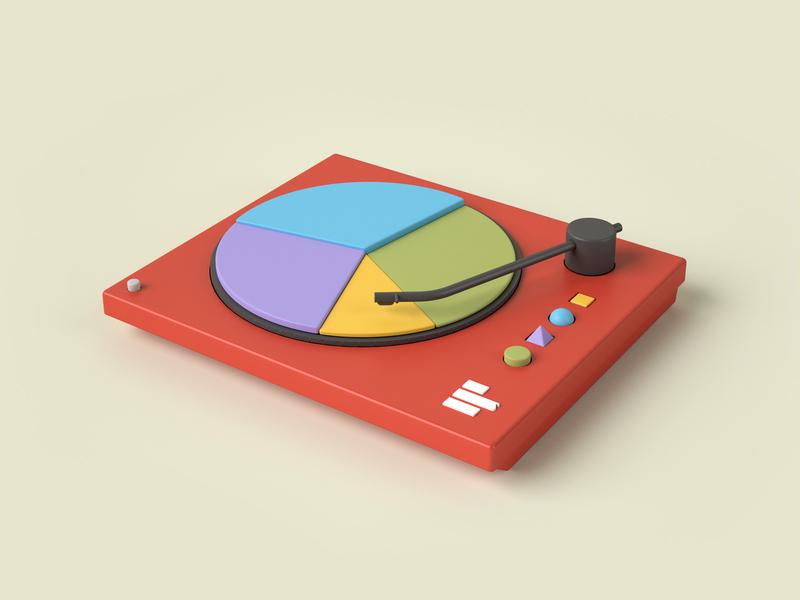 SuperDj 3d art dataviz turntable