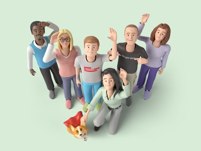 Supermetrics team about page 3d art 3d characters