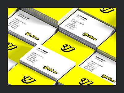 Yellow monogram yellow businesscards