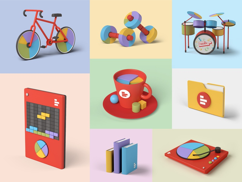 gadgets 3/3 piechart dj turntable chart books folder coffee cup coffee spreadsheet tetris drums gym weights bycicle bike dataviz data reporting 3dartwork 3dillustration