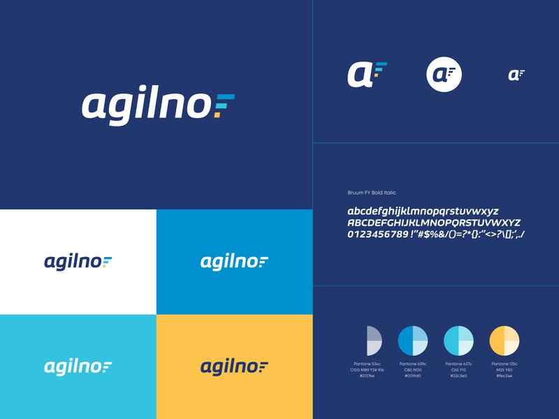 Agilno italic mulicolor blue logotype